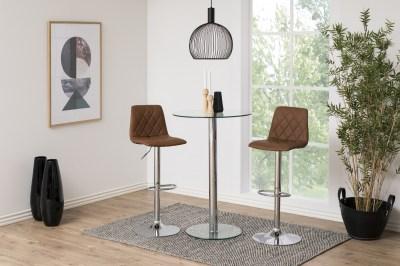 Designová barová židle Nashota světle hnědá-chromováv