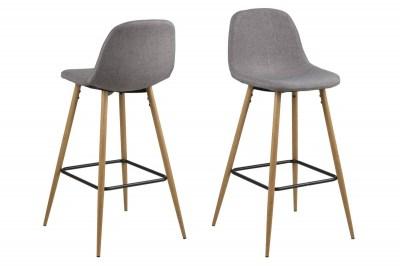 Designová barová židle Nayeli světle šedá Calle a přírodní