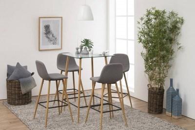 Designová barová židle Nayeli světle šedá a přírodní