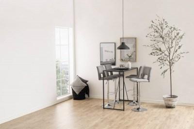 Designová barová židle Nerine světle šedá a chromová