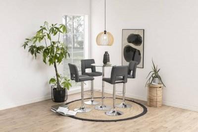 Designová barová židle Nerine tmavě šedá a chromová-tkanina