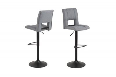 Designová barová židle Almonzo světlešedá / černá