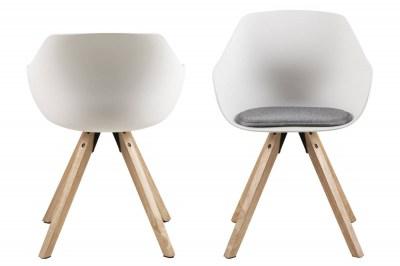 Designová jídelní židle Nerys bílá a přírodní