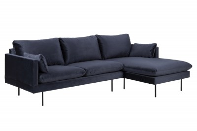 Designová sedací souprava Nanjala 242 cm pravá tmavě modrá