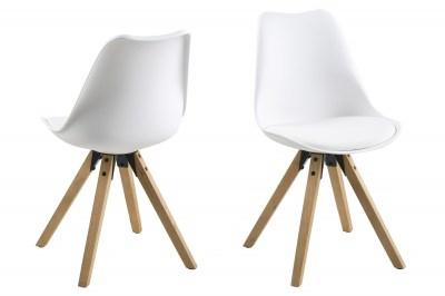 Designové židle Nascha bílá-přírodní
