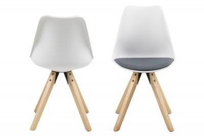 Designové židle Nascha bílá-tmavě šedá-přírodní