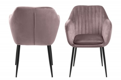 Designová židle Nashira světle růžová kovová
