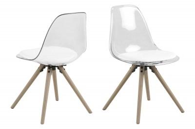 Designová židle Nera průsvitná-bílá