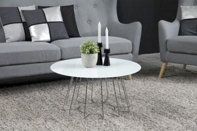 Designový konferenční stolek Ahmed bílá / chromová