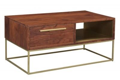Designový konferenční stolek Malakai 110 cm přírodní akácie - zlatý