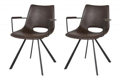 Designová stolička Izabella s opěrkami / tmavě hnědá-černá