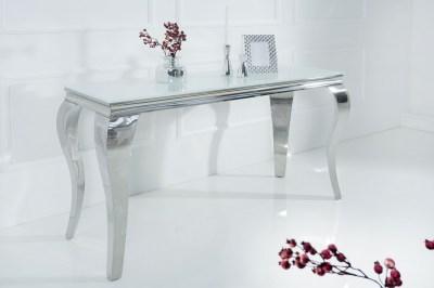 Designová konzola Rococo 140cm bílá / stříbrná