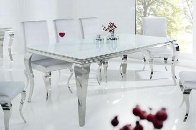Jídelní stůl Rococo 200 cm bílá / stříbrná