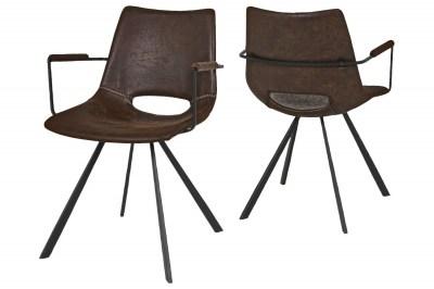 Designová stolička Izabella s opěrkami / hnědá-černá
