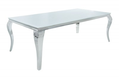 Jedálenský stôl Rococo 180 cm biela / strieborná