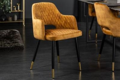 Designová židle Laney hořčicově žlutý samet