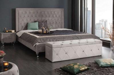 Luxusní lavice Spectacular 140 cm stříbrošedý samet