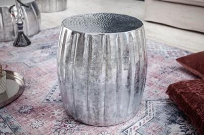 Designový odkládací stolek Maroko 42 cm stříbrná barva