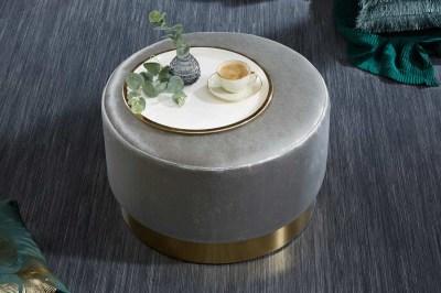 Designová taburetka Alejandra 55 cm, stříbrná/zlatá