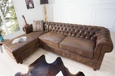 Rohová sedačka Chesterfield, antik hnědá, levá