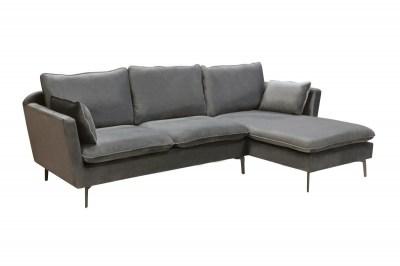 Designová rohová sedačka Lena, stříbrný samet