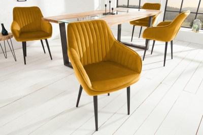 Designová židle Esmeralda, hořčicová žlutá