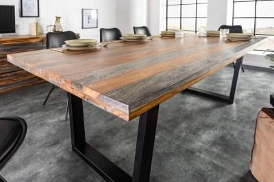 Designový jídelní stůl Flame, 160 cm, sheesham šedý