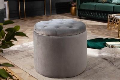 Designová taburetka Rococo 50 cm stříbrná