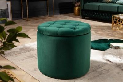 Designová taburetka Rococo 50 cm tmavozelená