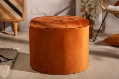 Designová taburetka Rococo 50 cm rezavě-hnědá