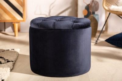 Designová taburetka Rococo 50 cm tmavomodrá