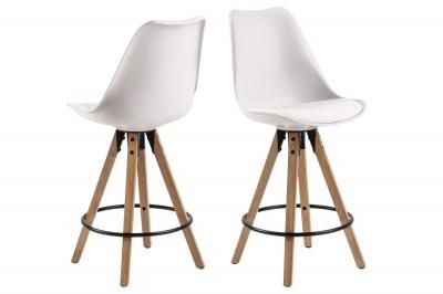 Moderní designová barová židle Nascha bílá-přírodní