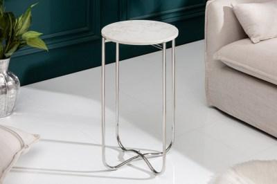 Odkládací stolek Tristen I 35 cm mramor bílý