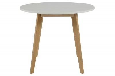 Kulatý jídelní stůl Niecy 90 cm bílý lakovaný