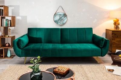 Rozkládací sedačka Amiyah 215 cm smaragdově samet