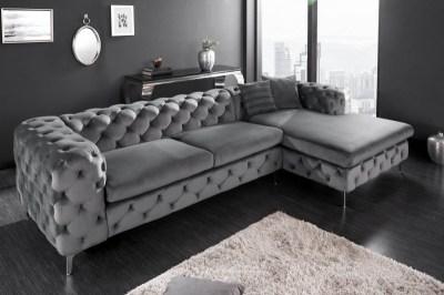 Designová rohová sedačka Rococo šedý samet