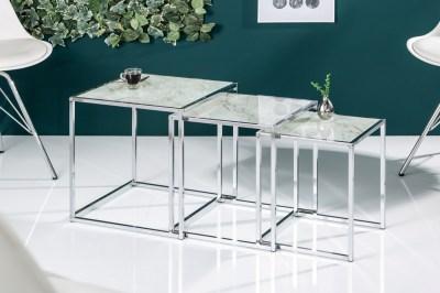 Set odkládacích stolků Factor sklo-mramor 3 ks