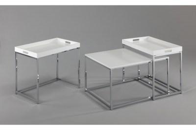Set odkládacích stolků s táckem Factor, bílý, 3 ks