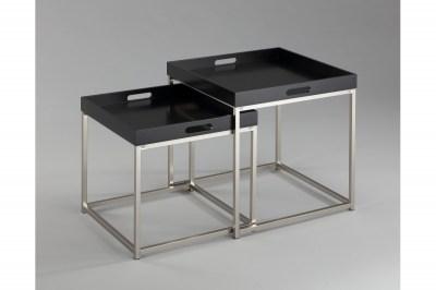 Set odkládacích stolků s táckem Factor, černý, 2 ks