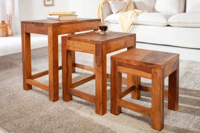Set odkládacích stolků Freddo 45 cm sheesham 3 ks