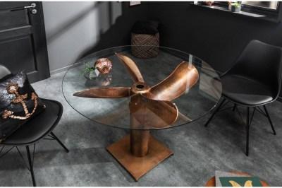 Designový jídelní stůl Propeller 94 cm měděný