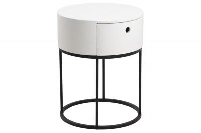 Stylový noční stolek Ariel oválný bílý