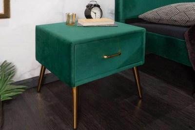 Stylový noční stolek Lena smaragdově zelený samet