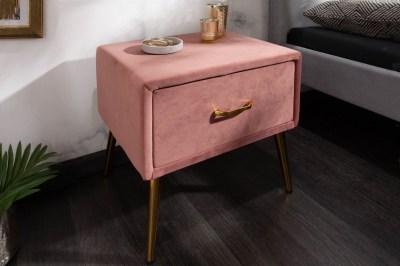 Stylový noční stolek Lena starorůžový samet