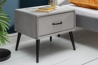 Stylový noční stolek Lena stříbrošedý samet