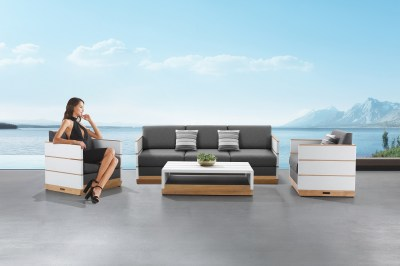 Zahradní sestava HIGOLD - Nutt Lounge White/Grey Wood base Sunbrella