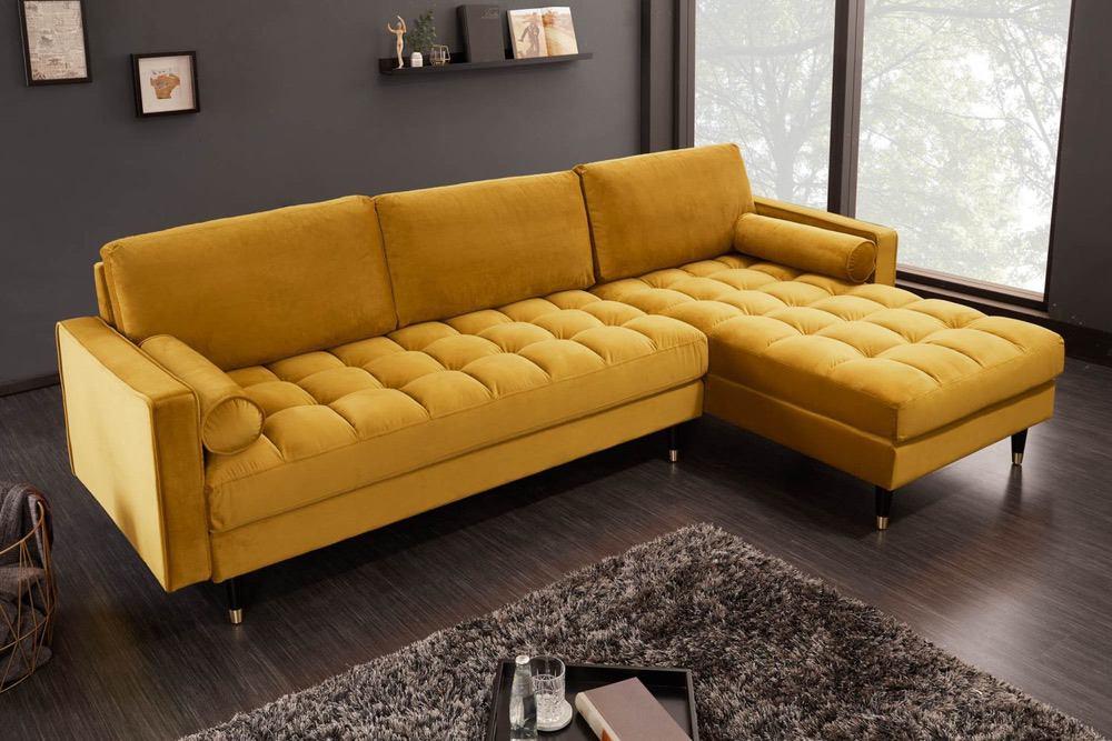 Rohová sedačka Adan II 260 cm hořčicově žlutý samet