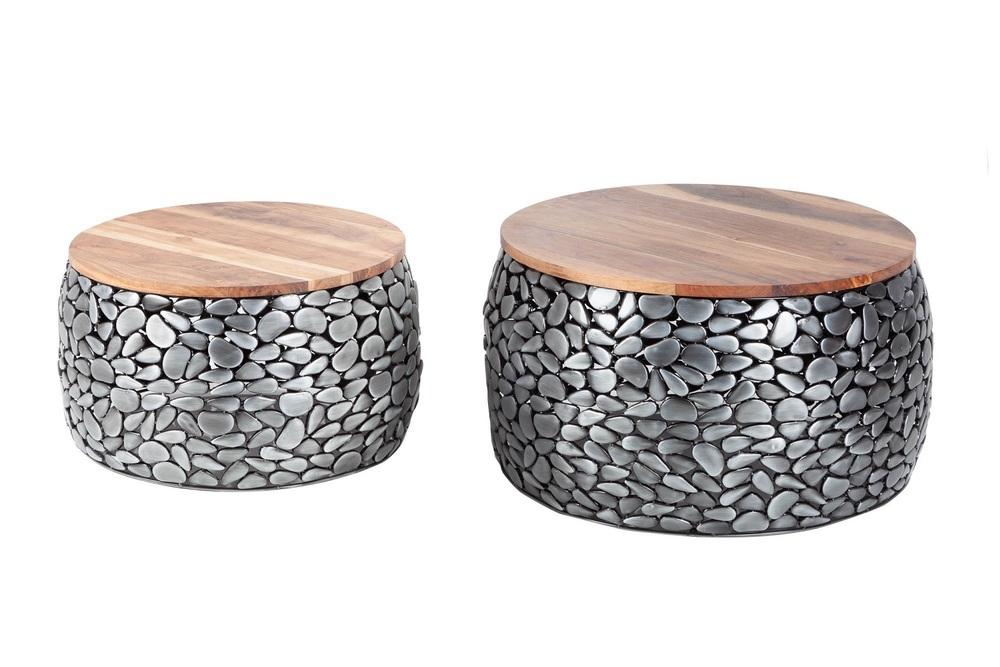 Set konferenčních stolků Mauricio stříbrný / akácie
