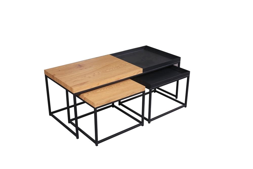 Set konferenčních stolků Giuliana 3 ks vzor dub - černý