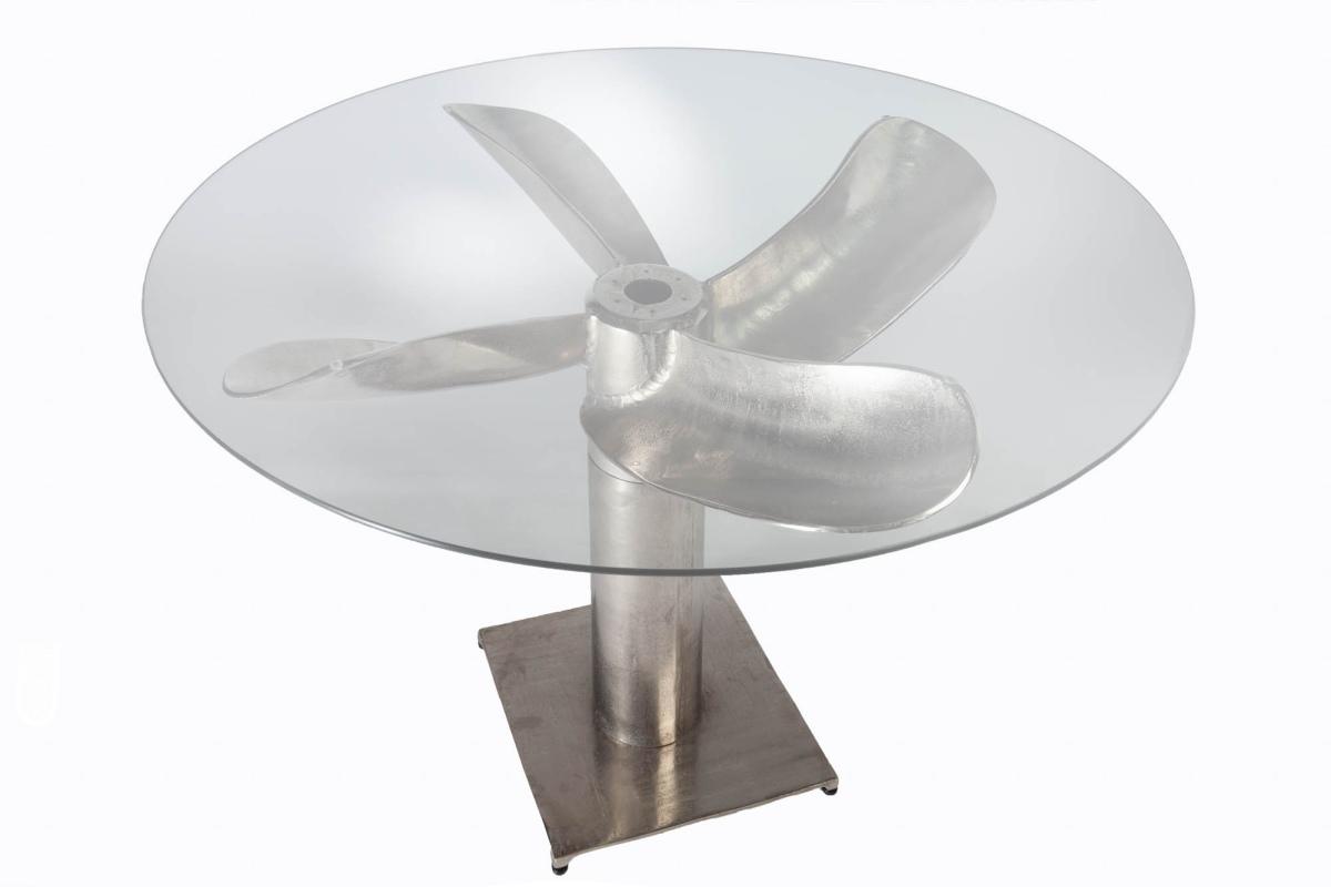 Designový jídelní stůl Propeller 94 cm stříbrný